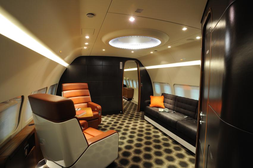 Luxurious jet cabin fullspread view