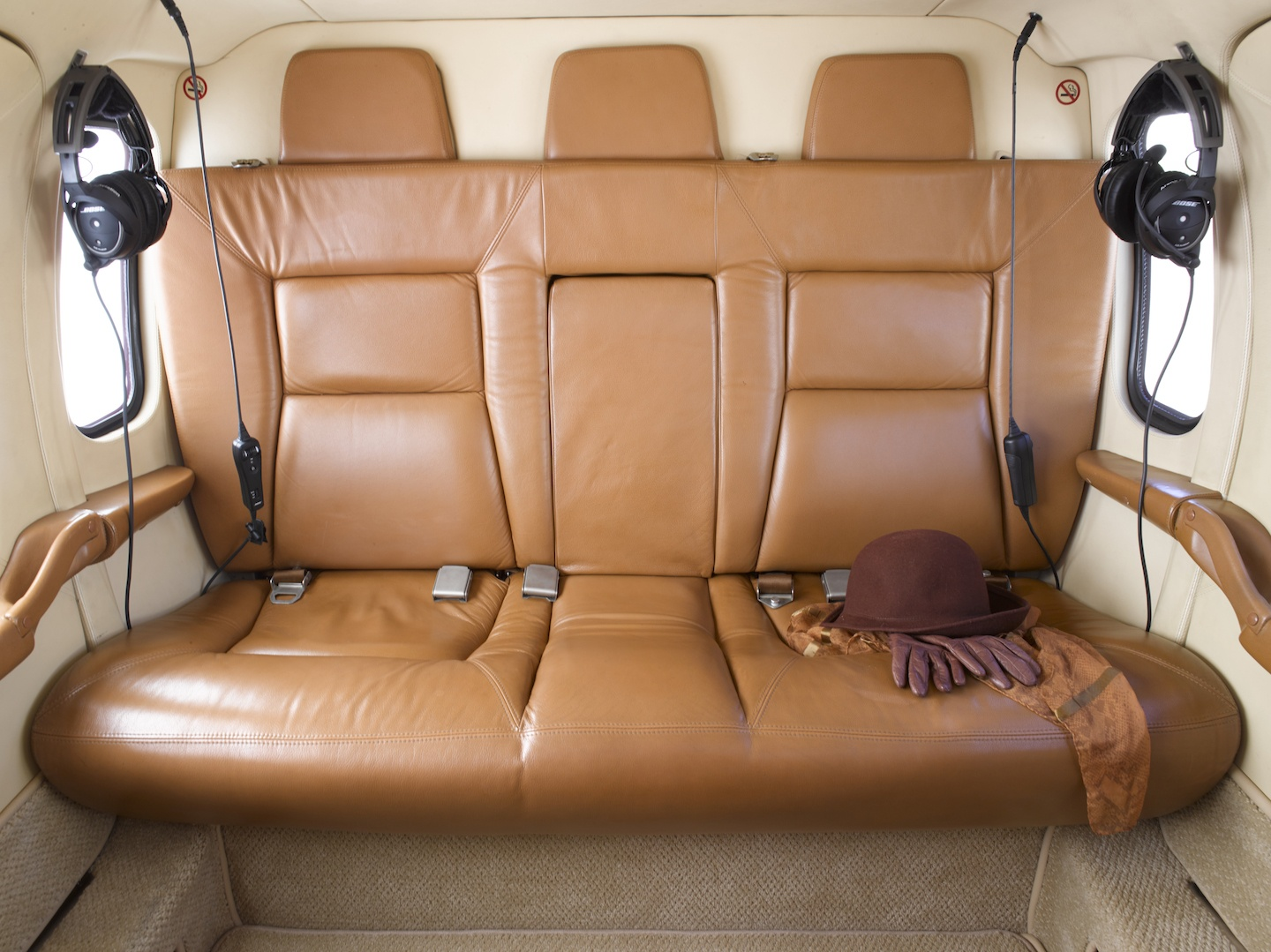 Luxurious leather seats in the 1999 Agusta A109E SN 11057 helicopter on Freestream