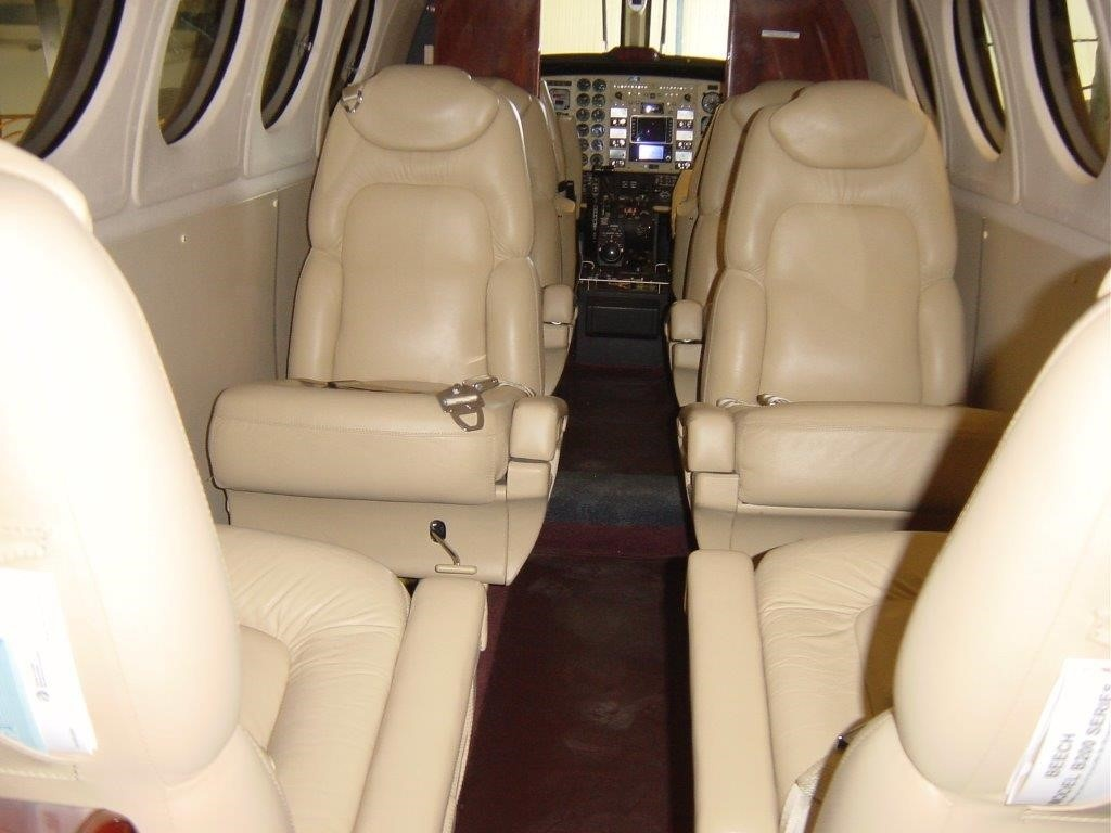 Leather seats in cabin of jet