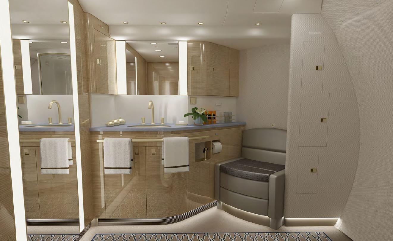 Luxurious bathroom on the 2008 Boeing BBJ3 on Freestream