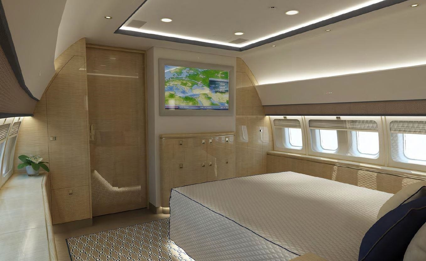 Bedroom in the 2008 Boeing BBJ3 jet available on Freestream